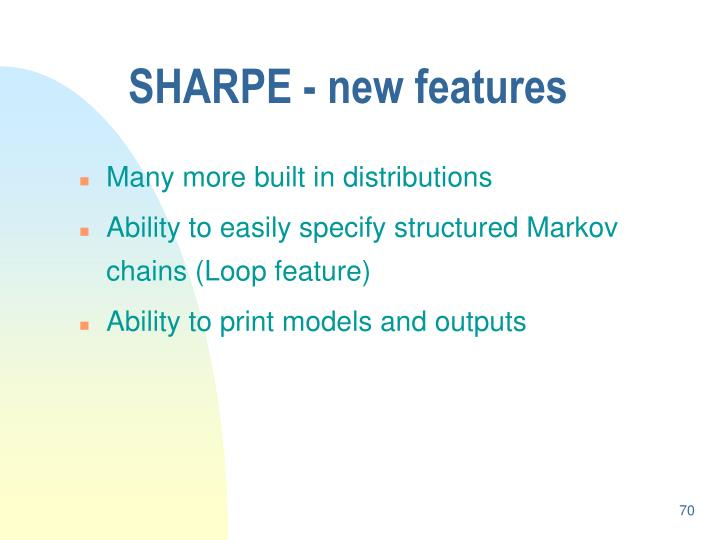 SHARPE - new features