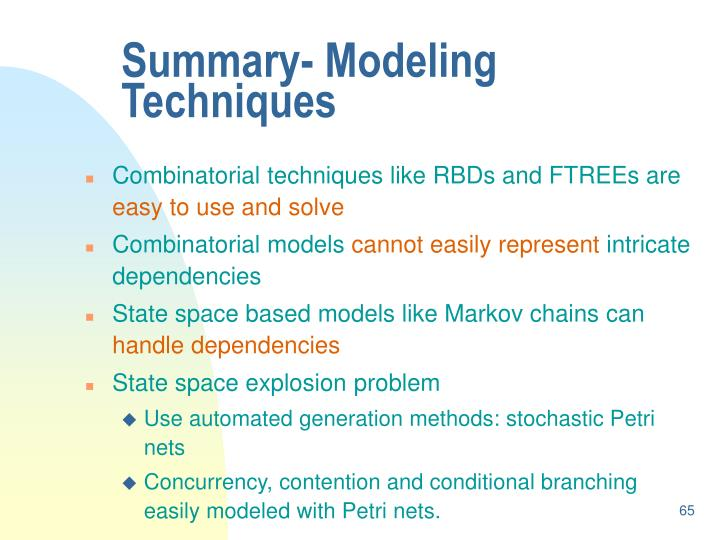 Summary- Modeling Techniques