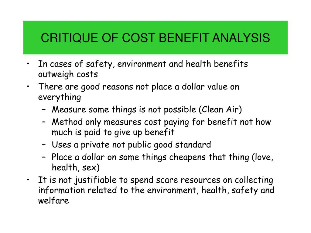CRITIQUE OF COST BENEFIT ANALYSIS