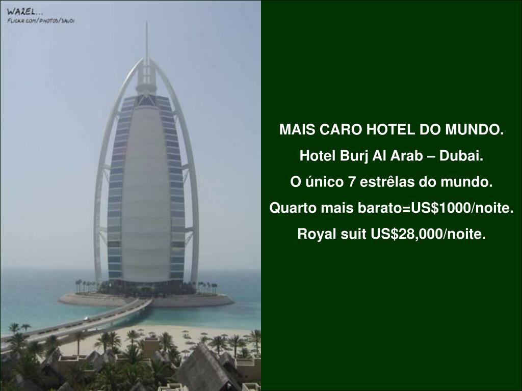 MAIS CARO HOTEL DO MUNDO.