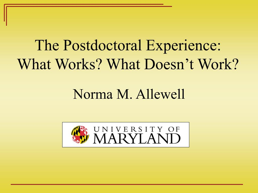 The Postdoctoral Experience: