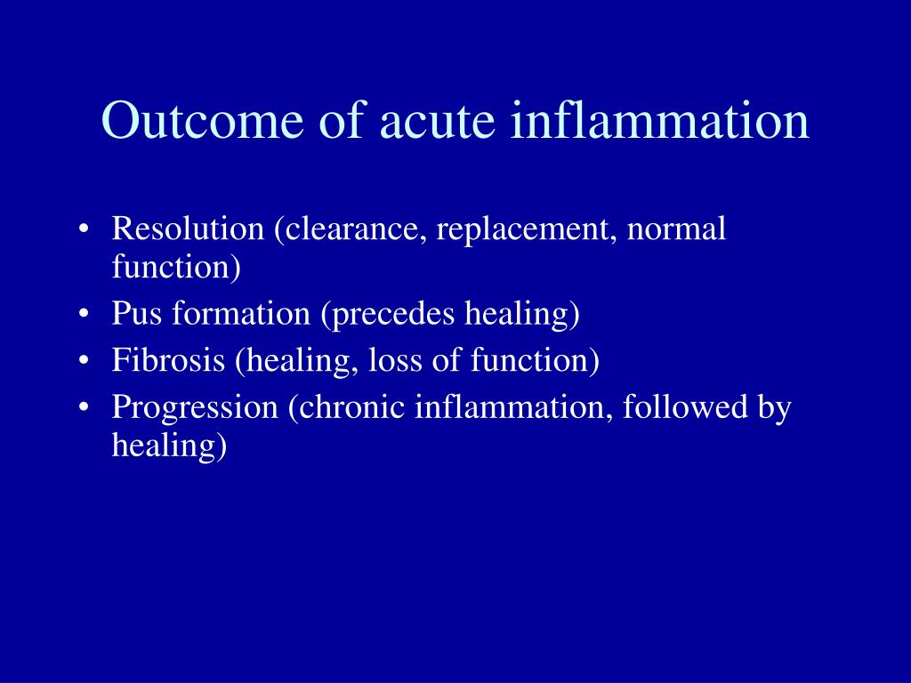 Outcome of acute inflammation