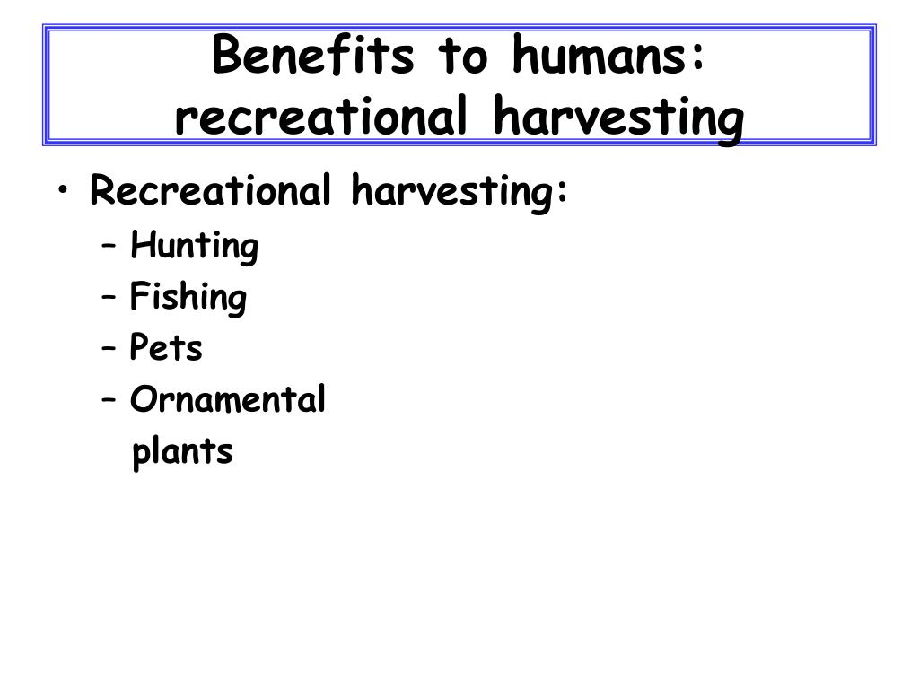 Benefits to humans: recreational harvesting