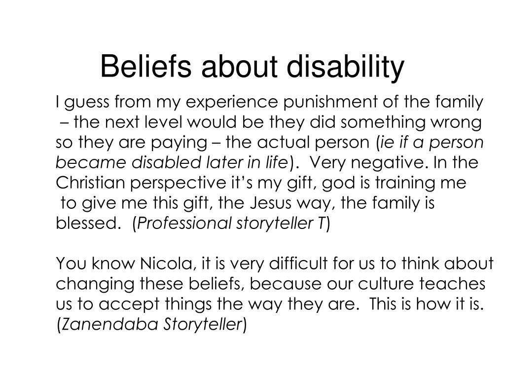 Beliefs about disability