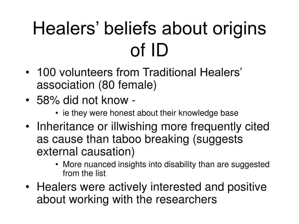 Healers' beliefs about origins of ID