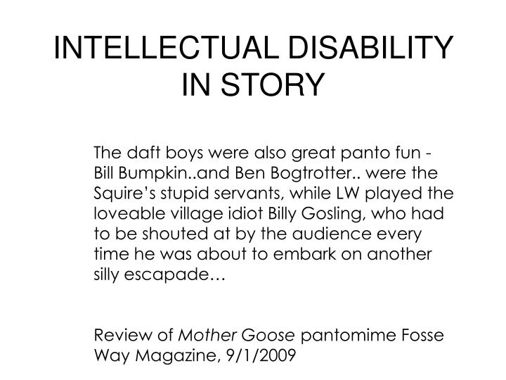 Intellectual disability in story