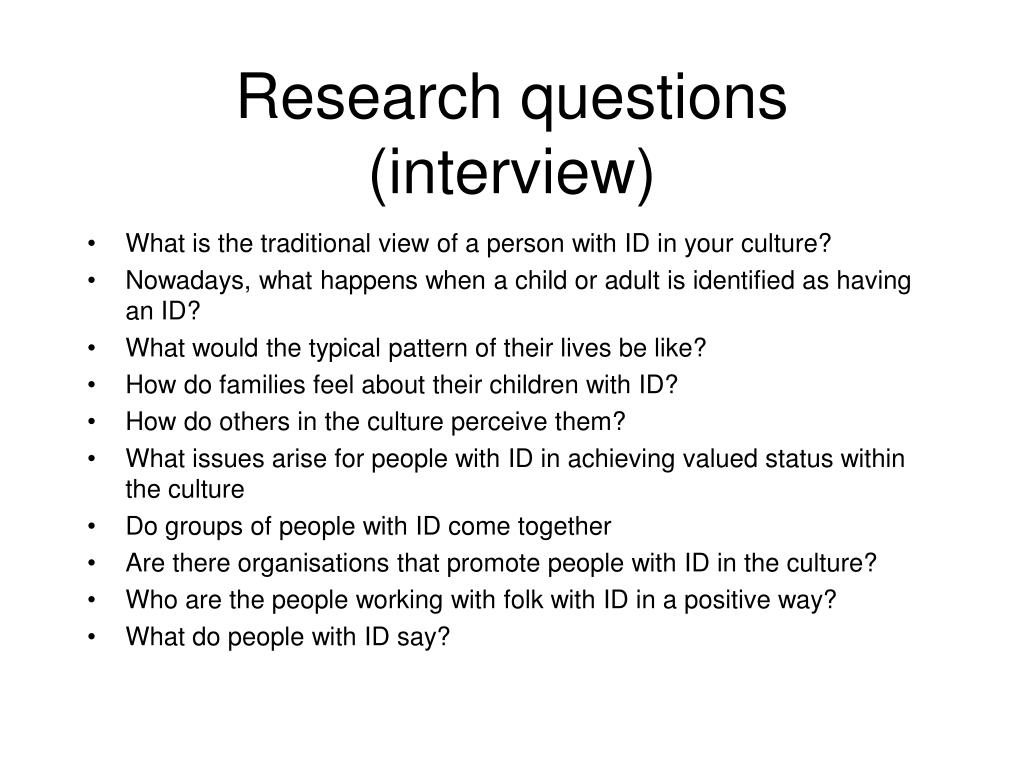 Research questions (interview)