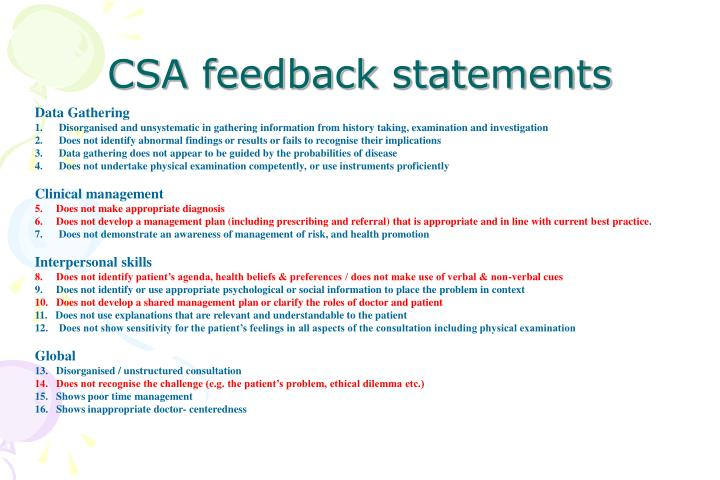 CSA feedback statements