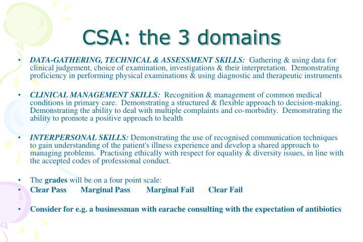 CSA: the 3 domains