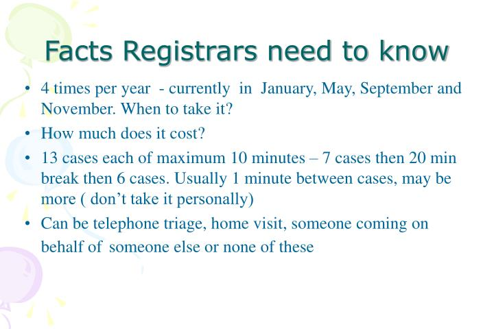 Facts Registrars need to know