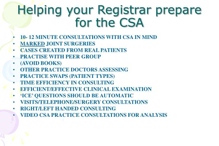 Helping your Registrar prepare for the CSA
