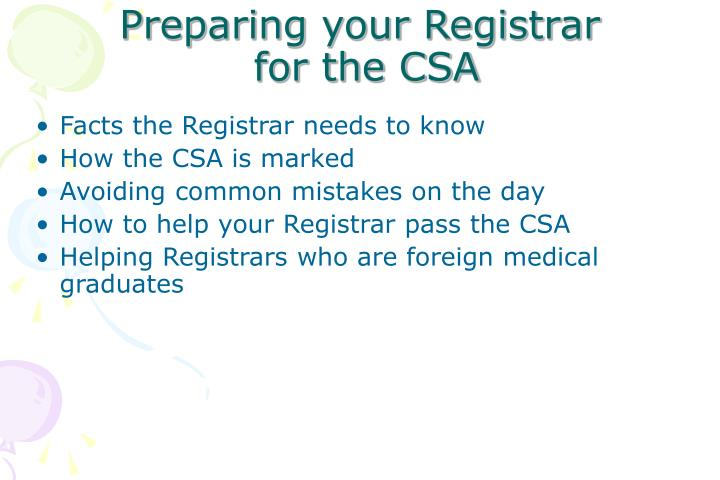 Preparing your Registrar