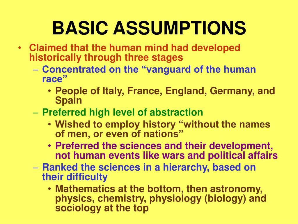 BASIC ASSUMPTIONS