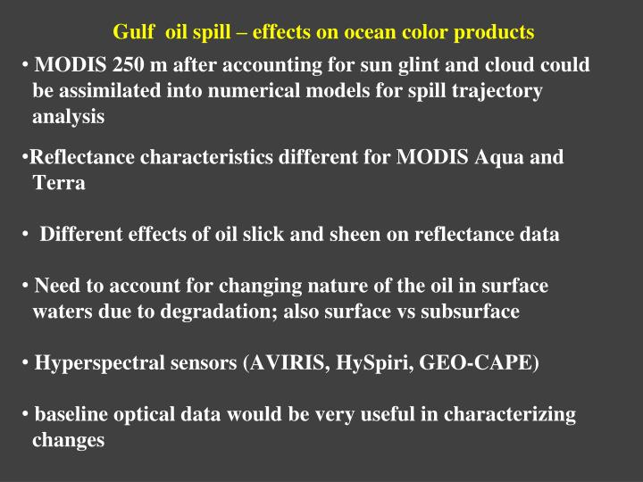 Gulf  oil spill – effects on ocean color products