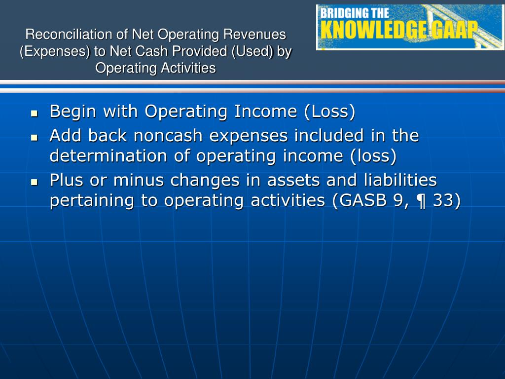 Reconciliation of Net Operating Revenues (Expenses) to Net Cash Provided (Used) by Operating Activities