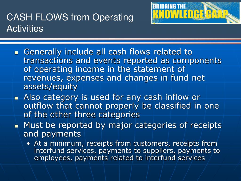 Generally include all cash flows related to transactions and events reported as components of operating income in the statement of revenues, expenses and changes in fund net assets/equity