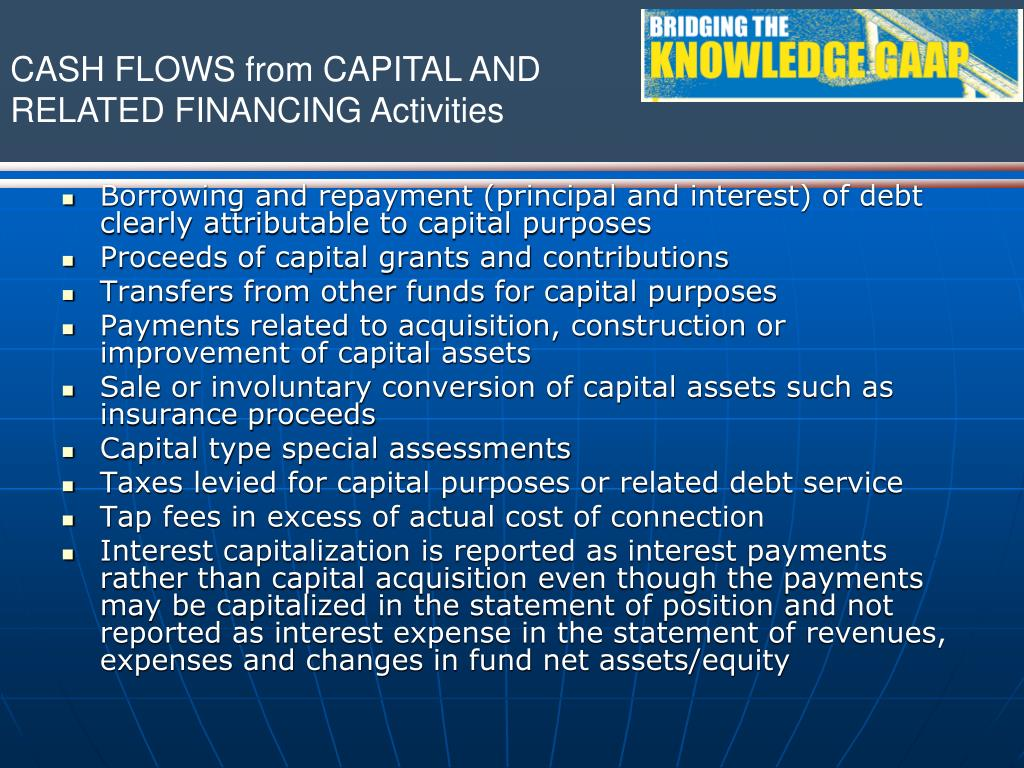 Borrowing and repayment (principal and interest) of debt clearly attributable to capital purposes