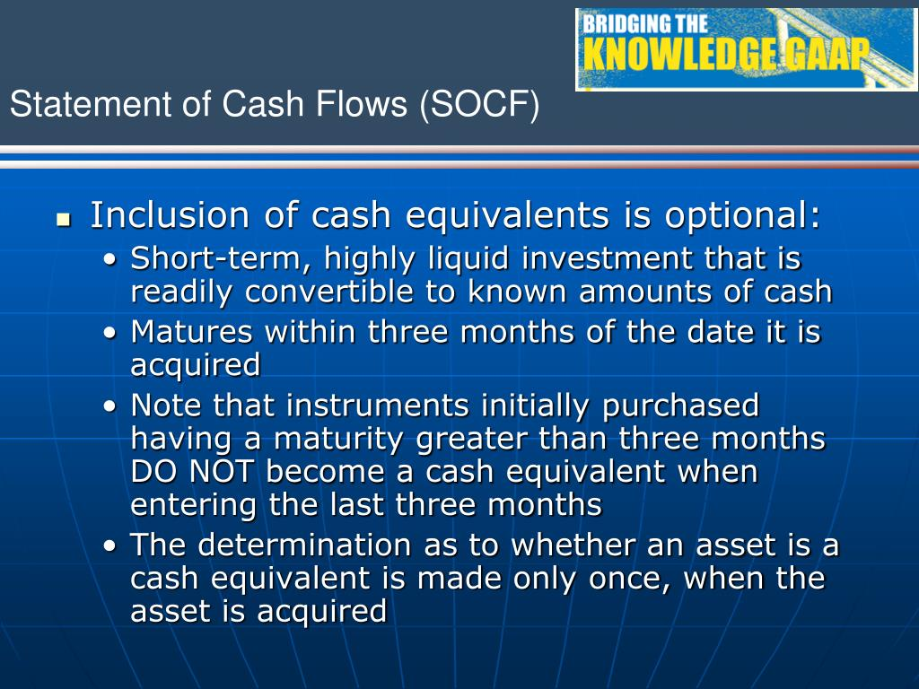 Inclusion of cash equivalents is optional: