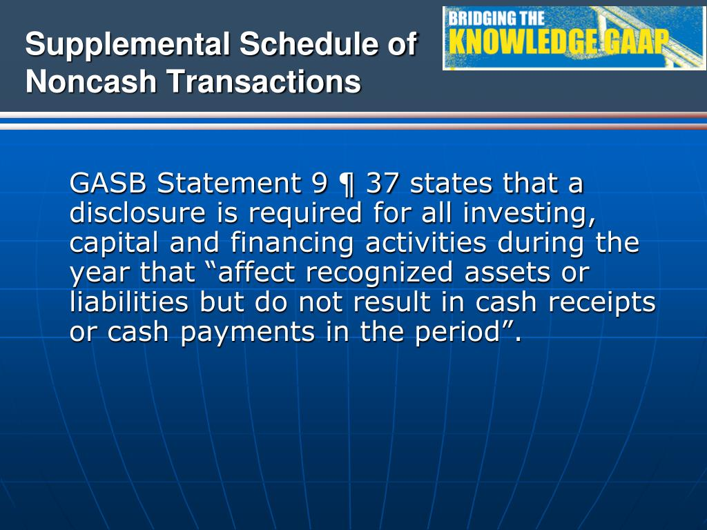 Supplemental Schedule of Noncash Transactions