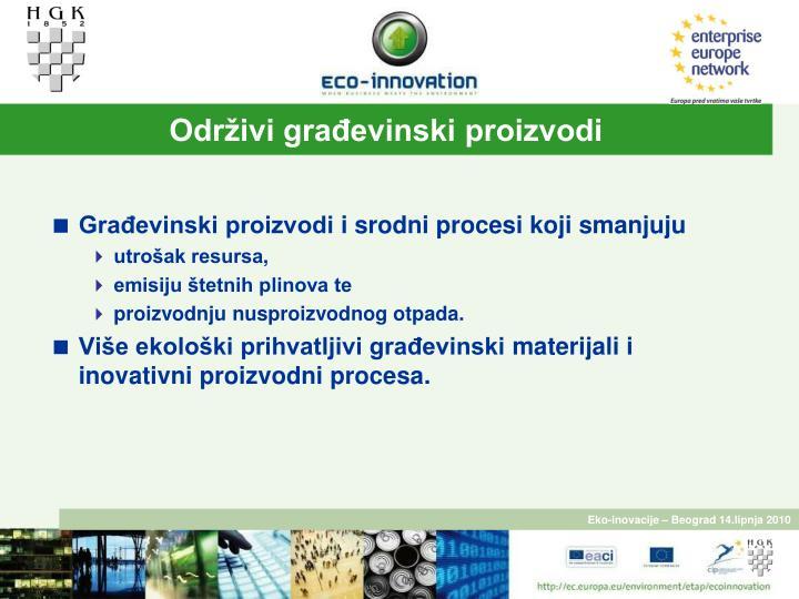 Održivi građevinski proizvodi