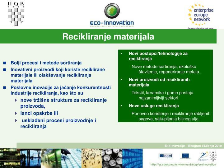 Recikliranje materijala