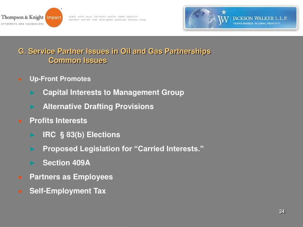 G. Service Partner Issues in Oil and Gas Partnerships