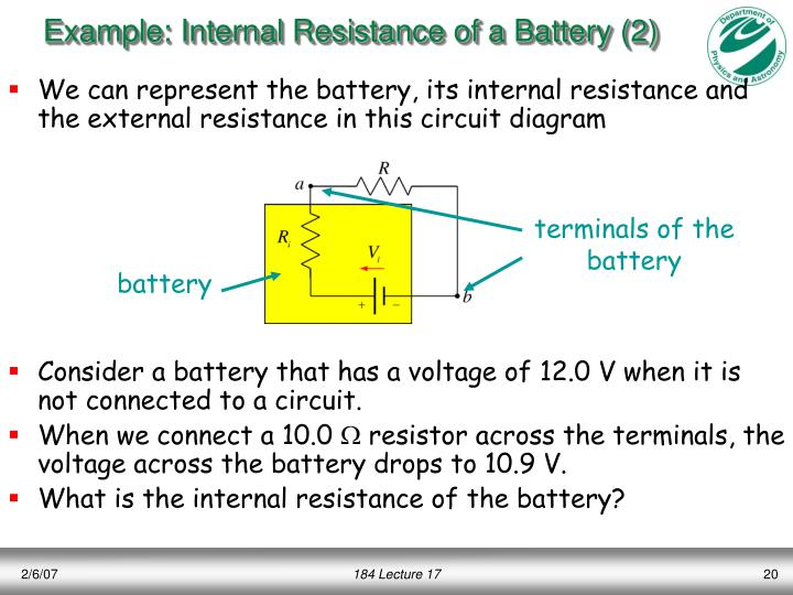 Example: Internal Resistance of a Battery (2)