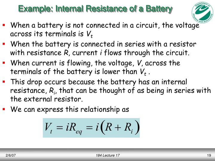 Example: Internal Resistance of a Battery
