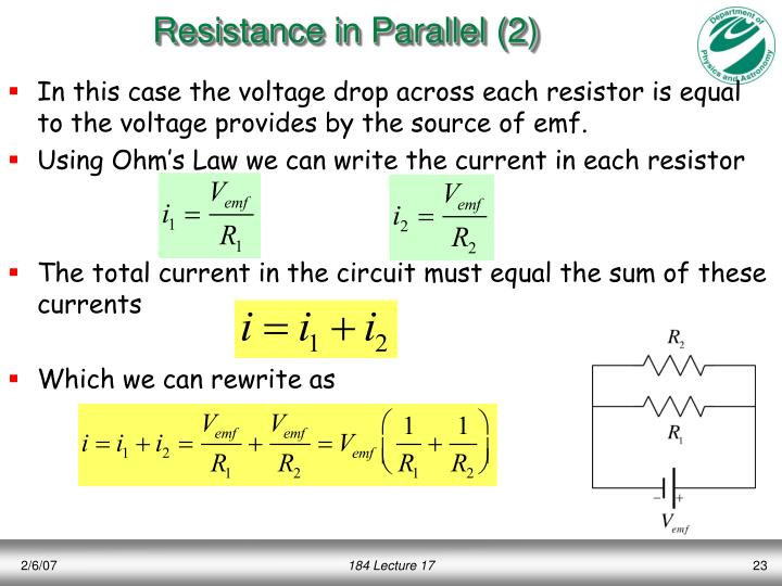 Resistance in Parallel (2)