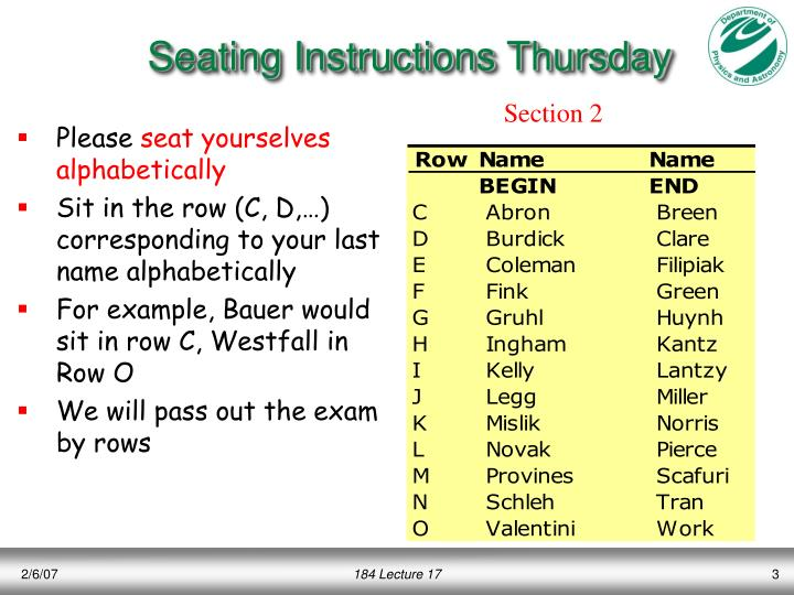 Seating instructions thursday