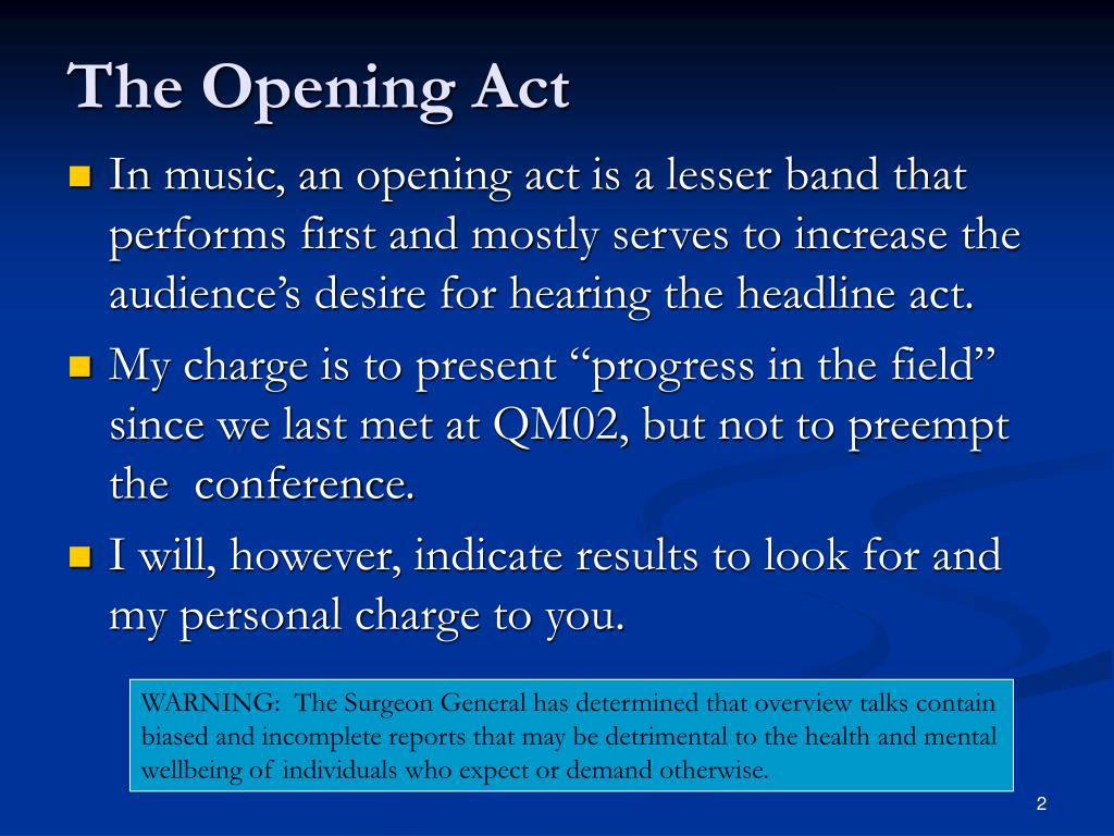 The Opening Act