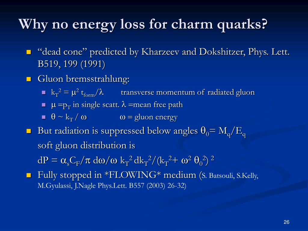 Why no energy loss for charm quarks?