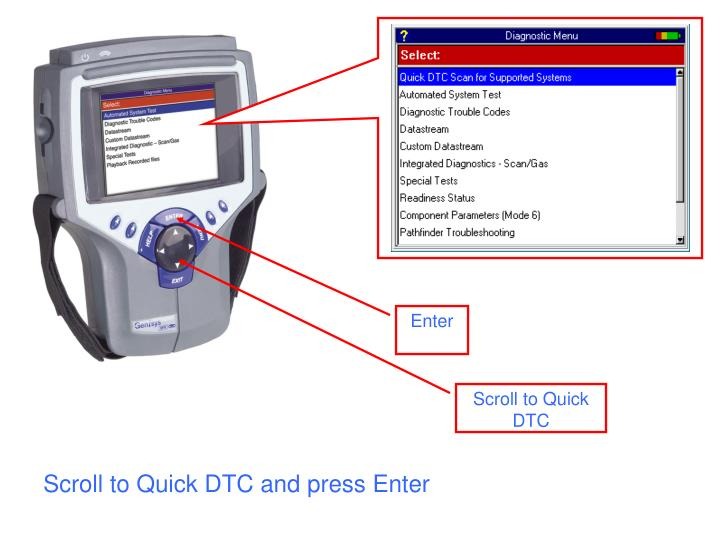Scroll to quick dtc and press enter