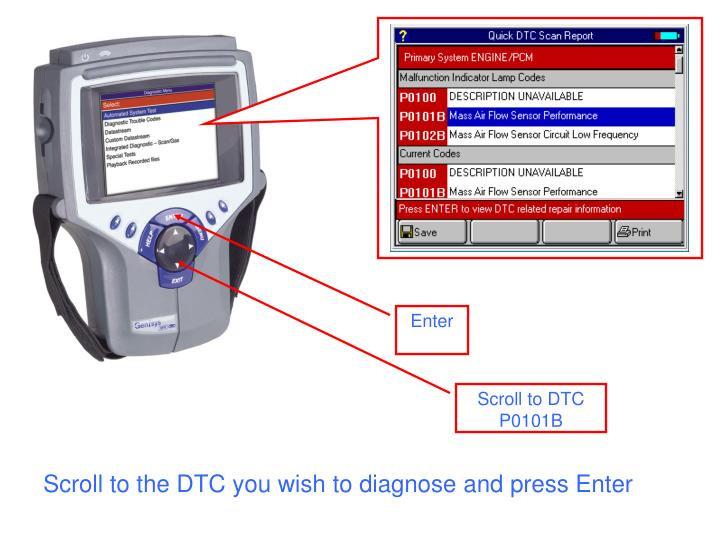 Scroll to the DTC you wish to diagnose and press Enter