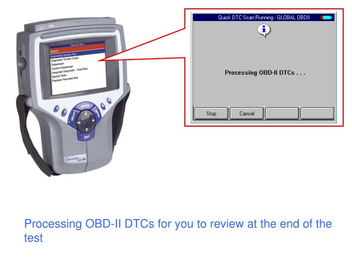 Processing OBD-II DTCs for you to review at the end of the test