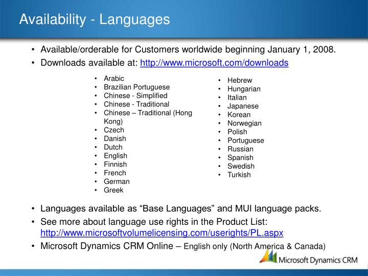 Availability - Languages
