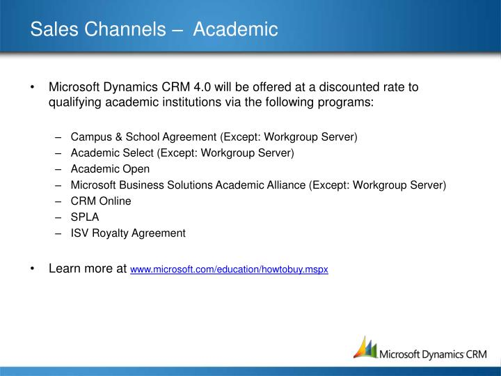 Sales Channels –  Academic