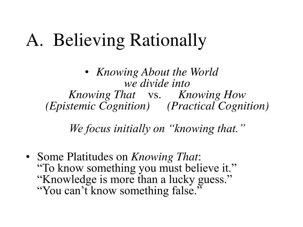 A.  Believing Rationally