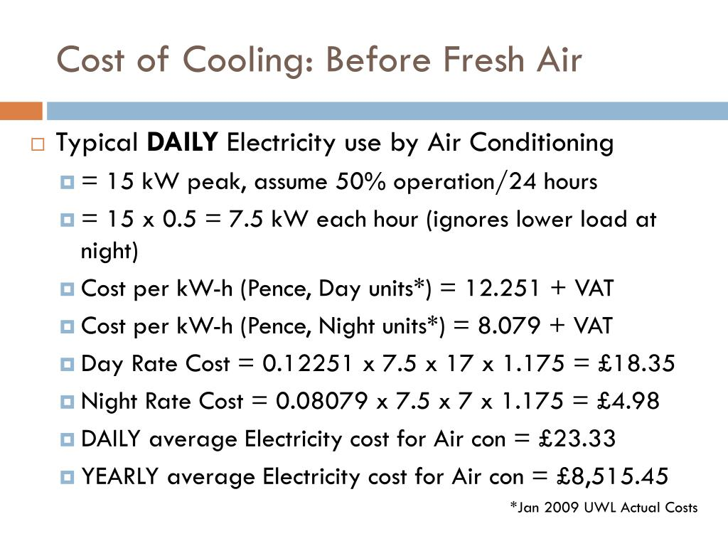 Cost of Cooling: Before Fresh Air