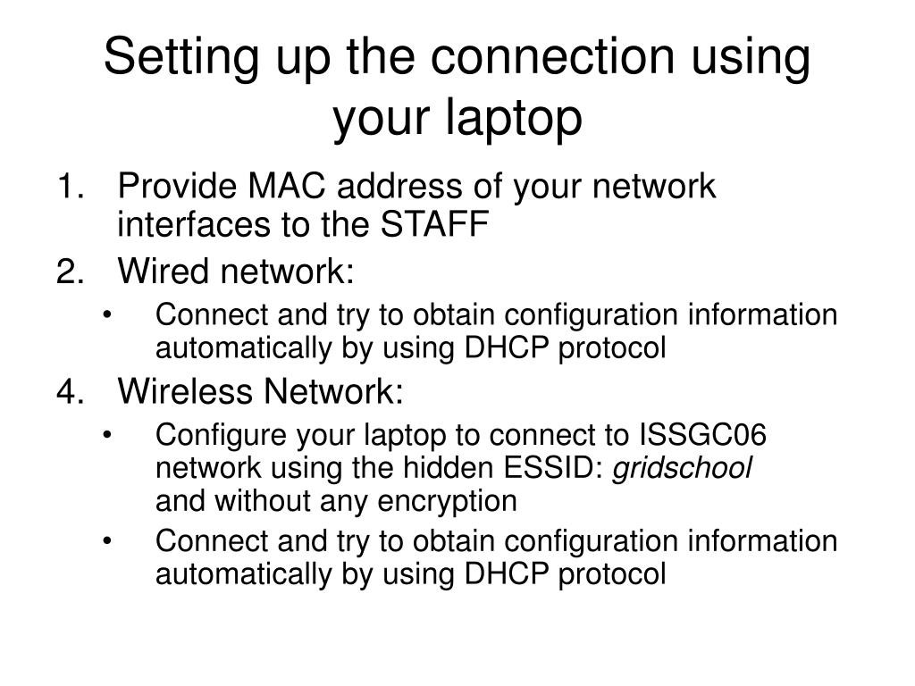 Setting up the connection using your laptop