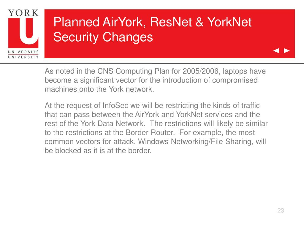Planned AirYork, ResNet & YorkNet