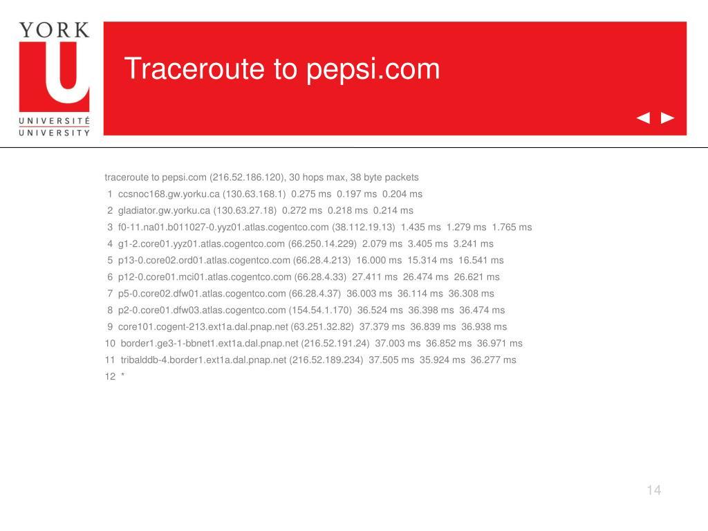 Traceroute to pepsi.com