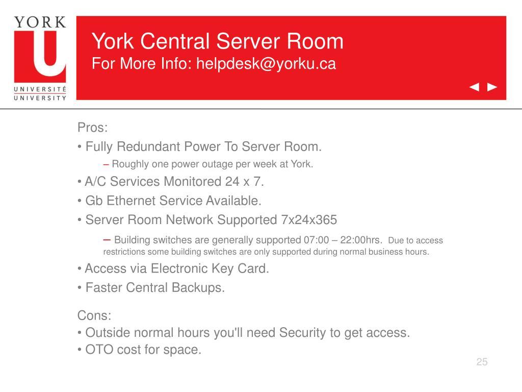 York Central Server Room