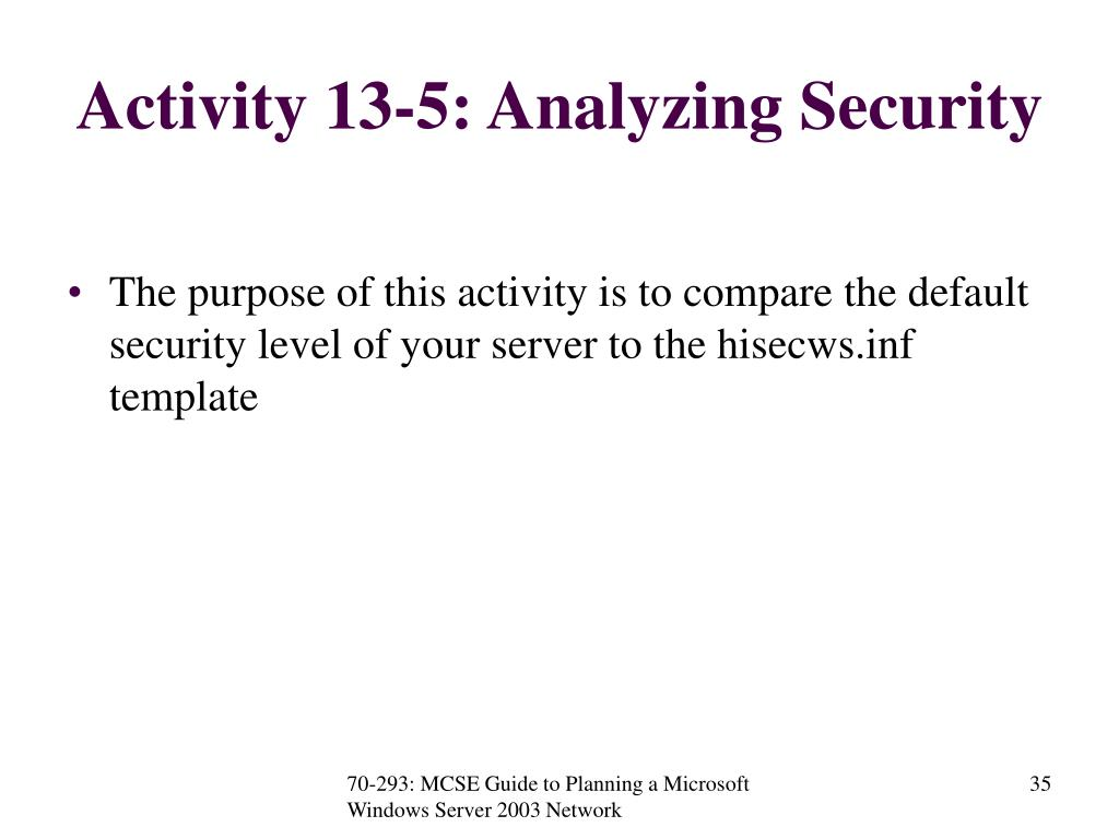 Activity 13-5: Analyzing Security