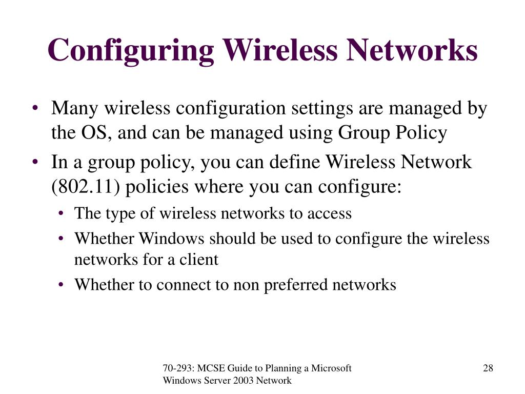 Configuring Wireless Networks