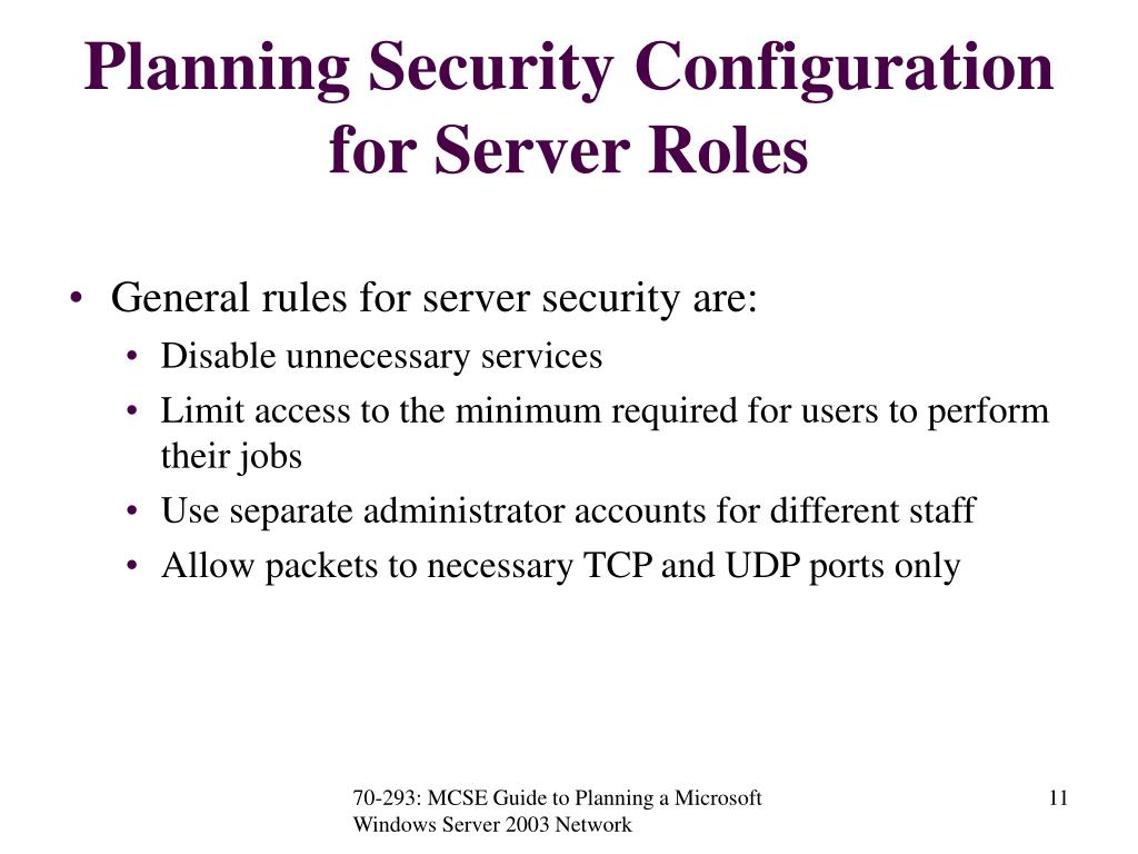 Planning Security Configuration for Server Roles
