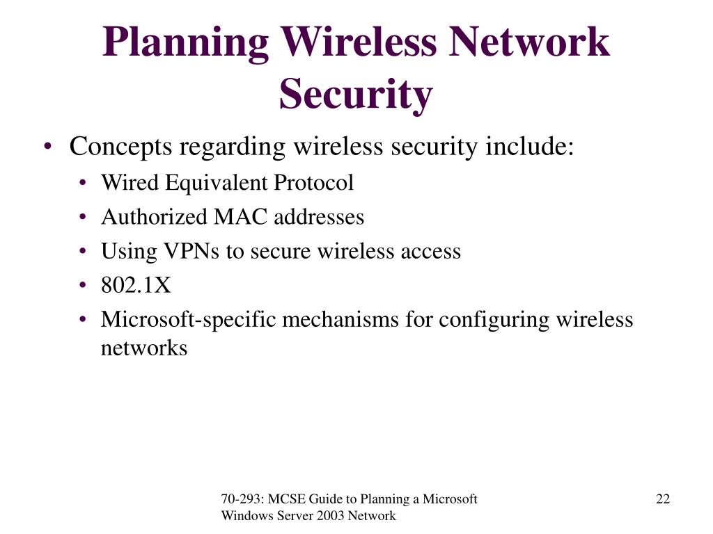 Planning Wireless Network Security