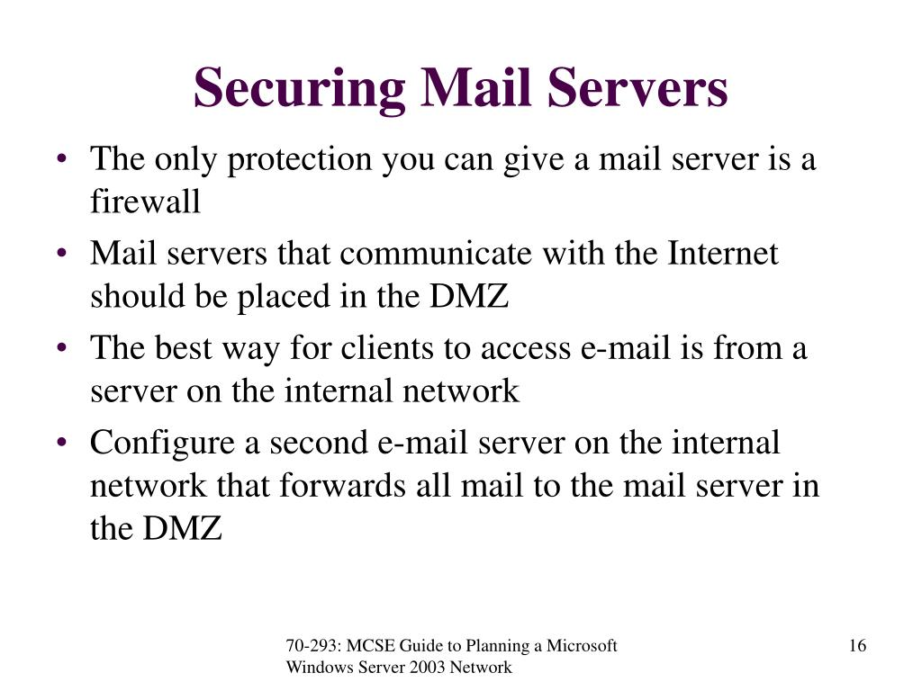 Securing Mail Servers