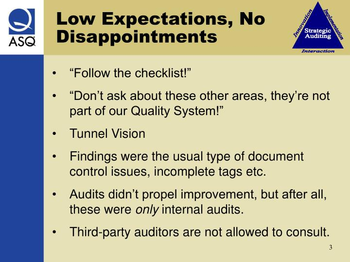 Low Expectations, No Disappointments