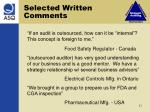 selected written comments1